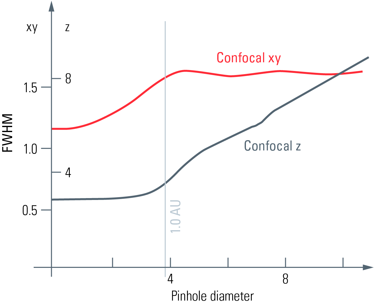 Fig. 5: Lateral resolution (red) and optical sectioning (black) in a true confocal scanning microscope (Leica TCS SP8). For pinhole sizes below the diameter of the Airy-disc, the lateral resolution can be improved over the wide-field values. Thus, confoca