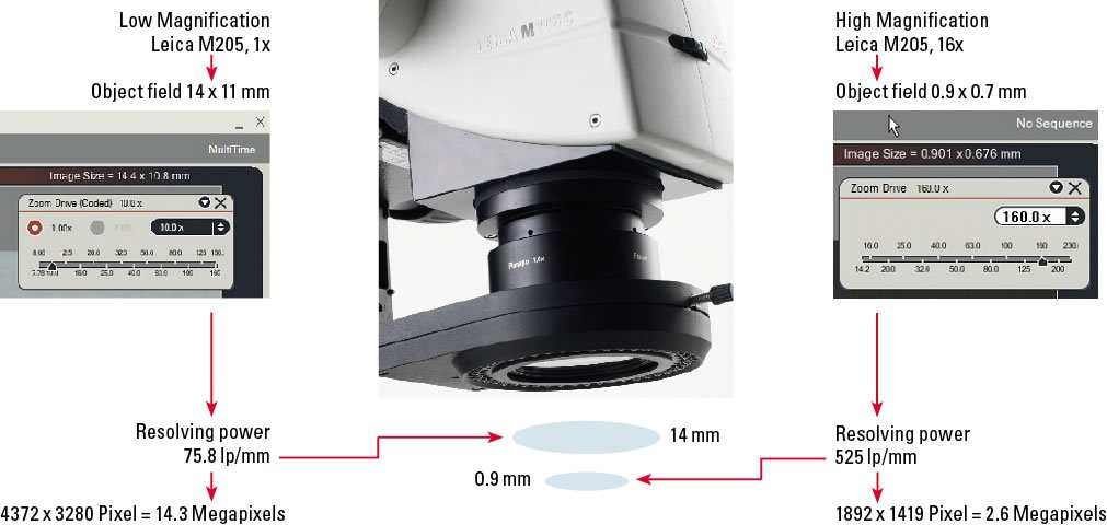 Resolving power at low/high magnification