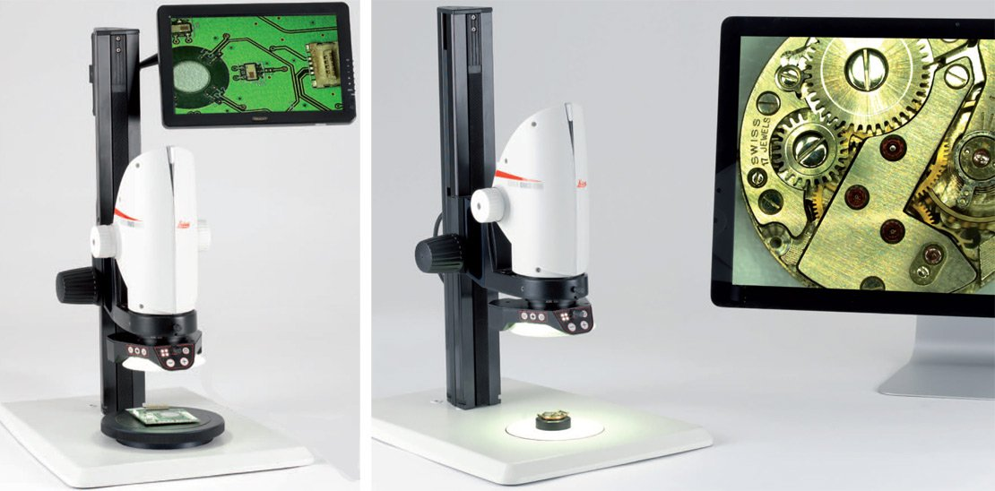 Leica DMS1000 digital microscope utilizing different monitor sizes for image display.